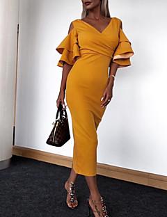 cheap Women's Dresses-Women's Party / Birthday Basic / Street chic Sheath Dress - Solid Colored Spring Green Yellow Wine L XL XXL