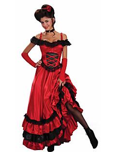 hesapli Cadılar Bayramı Kostümleri-İspanyol Leydi Elbiseler Kadın's Yetişkin Flamenko Cadılar Bayramı Karnaval Maskeli Balo Festival / Tatil Dantel Polyester Kıyafetler YAKUT Dantel