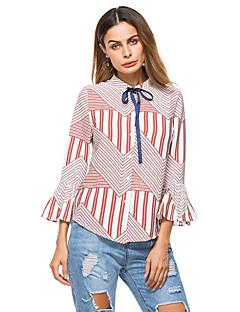 billige Bluse-Kvinders asiatiske størrelse slank bluse - fast farvet stand