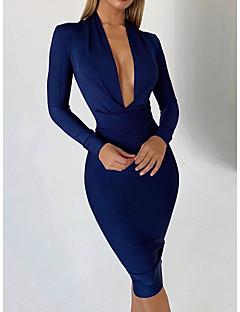 Недорогие Платья-Жен. Классический Облегающий силуэт Платье - Однотонный До колена