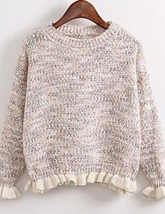 tanie Swetry damskie-Damskie Codzienny Solidne kolory Długi rękaw Regularny Pulower Niebieski / Rumiany róż / Beżowy Jeden rozmiar
