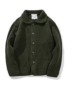 tanie Męskie swetry i swetry rozpinane-Męskie Codzienny Solidne kolory Długi rękaw Regularny Pulower Zielony / Szary L / XL / XXL