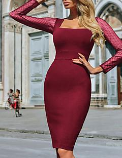 tanie Sukienki-Damskie Podstawowy / Moda miejska Pochwa Sukienka - Solidne kolory, Siateczka Do kolan
