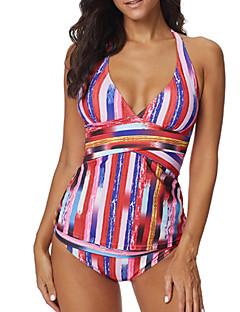 billige Bikinier og damemote-Dame Grunnleggende Rød Cheeky Bikini Badetøy - Stripet XXXL XXXXL XXXXXL