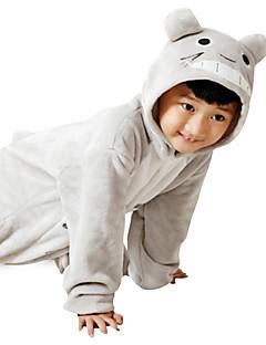 billige Kigurumi-Barne Kigurumi-pysjamas Kat Totoro Onesie-pysjamas Flanell Fleece Grå Cosplay Til Gutter og jenter Pysjamas med dyremotiv Tegnefilm Festival / høytid kostymer