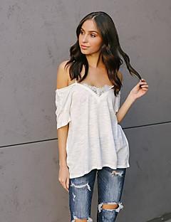 billige T-shirt-Dame slank t-shirt - solid farvet rund hals