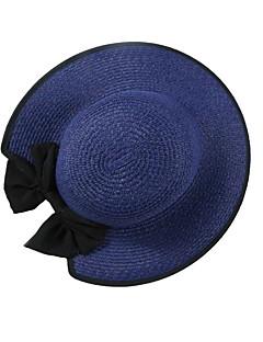 billige Hatter til damer-Dame Vintage / Grunnleggende Stråhatt - Sløyfe, Ensfarget / Trykt mønster