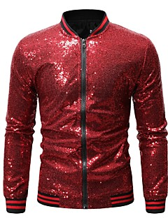 cheap Men's New Ins-Men's Daily Basic Spring & Summer / Fall & Winter Regular Jacket, Sequin Stand Long Sleeve Polyester Silver / Wine / Royal Blue L / XL / XXL