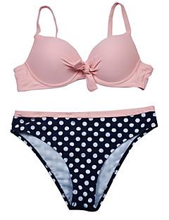 billige Bikinier og damemote-Dame Grunnleggende Gul Fuksia Regnbue Cheeky Bikini Badetøy - Ensfarget / Polkadotter L XL XXL