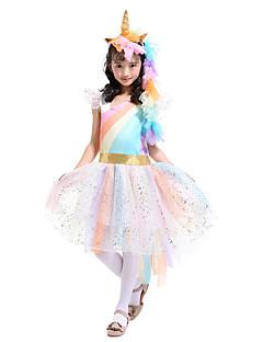 billige Halloweenkostymer-Unicorn Kjoler Jente Barne Regnbue Halloween Halloween Karneval Barnas Dag Festival / høytid Tyll Bomull Drakter Gul / Blå / Rosa enhjørning