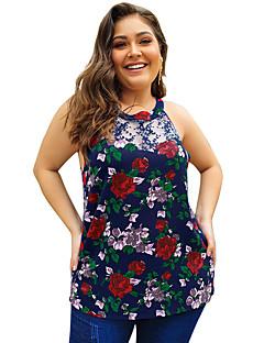 billige Bluse-Kvinders asiatiske størrelse slank bluse - geometrisk / solid farvet rund hals