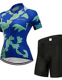 billige Sett med sykkeltrøyer og shorts/bukser-FirtySnow Kortermet Sykkeljersey med shorts - Mørkeblå Sykkel Pustende, Fort Tørring Blomster / botanikk / Elastisk
