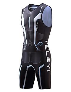 billige Sykkelklær-TELEYI Ermeløs Triathlondrakt - Svart Sykkel Pustende, Fort Tørring Moderne