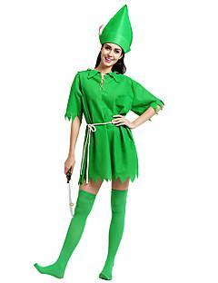 billige Halloween- og karnevalkostymer-Peter Pan Maskerade Dame Voksne Halloween Karneval St. Patricks Day Festival / høytid Polyester Drakter Grønn Shamrock Novelty