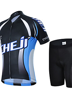 billige Sykkelklær-cheji® Gutt Sykkeljersey med shorts - Svart / Blå Sykkel Fort Tørring sport Fjellsykling Veisykling Klær / Høy Elastisitet