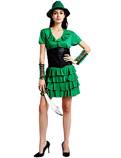 billige Halloween- og karnevalkostymer-Peter Pan Kostume Dame Voksne Halloween Karneval St. Patricks Day Festival / høytid Polyester Drakter Grønn Shamrock Novelty
