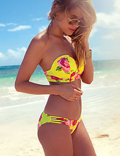 Недорогие Женская пляжная одежда и купальники-Жен. С открытыми плечами  Желтый Смелые Танкини Купальники f7bd7f829ee32