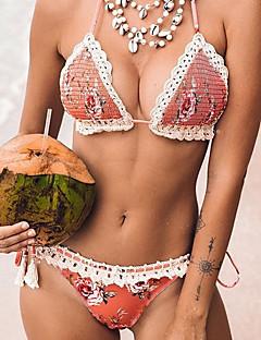 billige Bikinier og damemote-Dame Rosa Cheeky Bikinikjole Badetøy - Blomstret S M L
