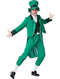 billige Halloween- og karnevalkostymer-Alv Kostume Herre Dame Voksne Drakter Halloween Karneval St. Patricks Day Festival / høytid Plysj-stoff Polyester Drakter Grønn 4 blad Shamrock Novelty