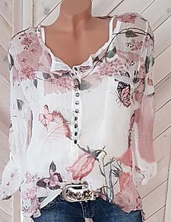 economico Abbigliamento alla moda-Blusa Per donna Moda città Con stampe, Fantasia floreale A V / Primavera / Estate / Autunno / Largo