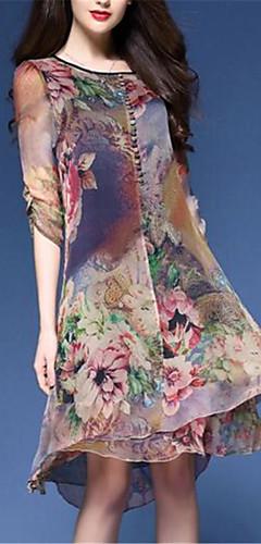 זול -עד הברך דפוס, פרחוני - שמלה משוחרר שיפון מידות גדולות סגנון סיני בגדי ריקוד נשים