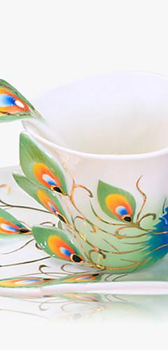 cheap -Peacock Porcelain Cup Set Ceramic  Designed Drinkware