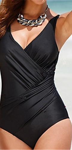 cheap -Women's Plus Size Strap Green White Black Wrap Briefs One-piece Swimwear - Solid Colored XXXL XXXXL XXXXXL Green