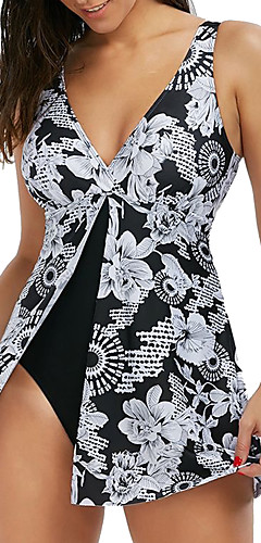 cheap -Women's Strap Black Triangle Cheeky One-piece Swimwear - Floral Print XXXL XXXXL XXXXXL Black / Sexy