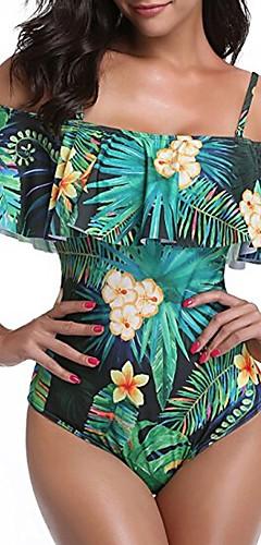 cheap -Women's Boho Strap / Off Shoulder Green White Bandeau Briefs One-piece Swimwear - Floral Tropical Leaf Ruffle / Print L XL XXL / Sexy
