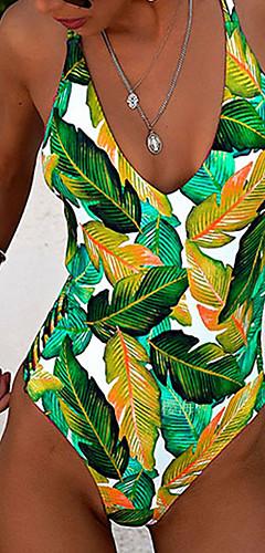 cheap -Women's Boho Green Purple Yellow Halter High Waist One-piece Swimwear - Floral Backless Print M L XL Green