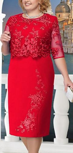 זול -מידי תחרה, אחיד - שמלה נדן מידות גדולות אלגנטית בגדי ריקוד נשים / Party