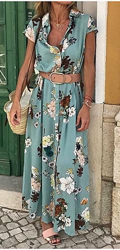 זול -צווארון V מקסי שמלה נדן רזה כותנה בגדי ריקוד נשים