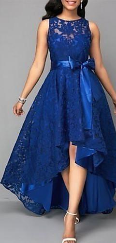 זול -מיני תחרה, אחיד - שמלה סווינג רזה מתוחכם אלגנטית בגדי ריקוד נשים