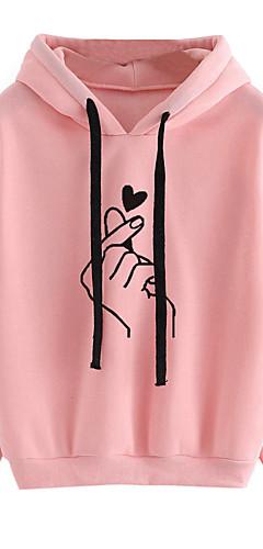 ieftine -Pentru femei Casual / Cute Stil Hanorac cu Glugă Mată / Inimă