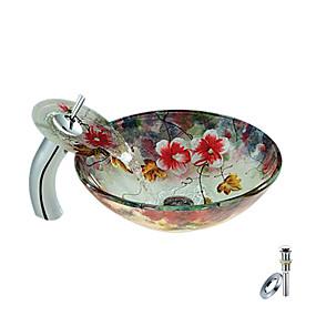 preiswerte Waschschalen und Aufsatz-Waschbecken-Moderne Rundförmig Material der Becken ist Hartglas Waschbecken für Badezimmer Armatur für Badezimmer Wasserablass für Badezimmer