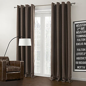 cheap Blackout Curtains-Grommet Top Curtain Modern Solid 100% Polyester Polyester Material Home Decoration