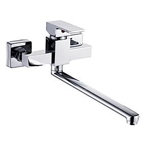 povoljno Kuhinjske slavine-Kuhinja pipa - Two Holes Chrome Standardna lijevak Zidne slavine Suvremena Kitchen Taps / Jedan obrađuju dvije rupe