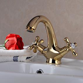 abordables Offres de la Semaine-Robinet lavabo - Rotatif Ti-PVD Set de centre 1 trou / Deux poignées un trouBath Taps