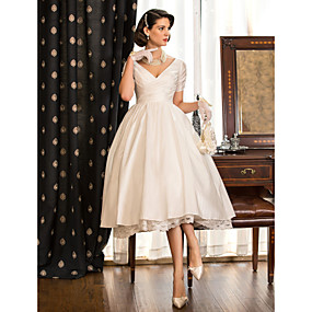 cheap Weddings & Events-A-Line V Neck Tea Length Taffeta Made-To-Measure Wedding Dresses with Lace / Criss Cross by LAN TING BRIDE® / Little White Dress / Little White Dress