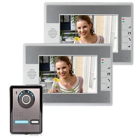 cheap Access Control Systems-7 Inch IP Video Door Phone Doorbell Intercom Entry System with 2 Monitor +1 Camera Night Vision Support Remote unlocking