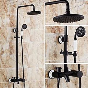 povoljno Slavine-Slavina za tuš - Starinski Lakirana bronca Sustav za tuširanje Keramičke ventila Bath Shower Mixer Taps / Brass / Jedan obrađuju tri rupe