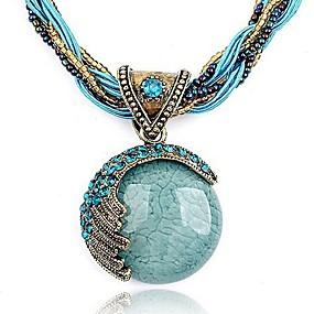 cheap Essential Accessorices For Every Ladies-Women's Turquoise Pendant Necklace Twisted Bohemian European Fashion Boho Alloy Red Green Blue 42+5 cm Necklace Jewelry 1pc For Party Birthday Gift Daily Casual