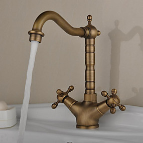 cheap Kitchen Faucets-Kitchen faucet - One Hole Antique Brass Bar / ­Prep Deck Mounted Antique / Two Handles One Hole