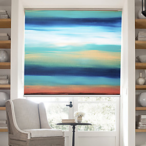 billige Rullegardiner-Oil Painting Style Colored Abstract Forms Ⅲ linen Roller Shade