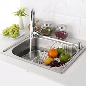 abordables Eviers-Evier de Cuisine / Robinet de Cuisine / Bonde de Cuisine contemporain - Inox Rectangulaire Vessel Sink