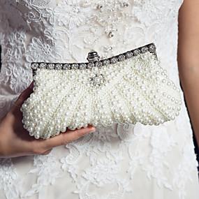 ieftine Promovarea Nationala-pungi de saci de satin sac de seara perla / sequin / imitație perla negru / roz / fildeș / saci de nuntă / pungi de nunta