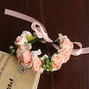 baratos Flores-Bouquets de Noiva Redondo Rosas Buquê de Pulso Casamento Festa / noite Cetim Papél