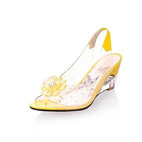 c2489a3c7a7e Women s Leatherette Spring   Summer Slingback Translucent Heel   Wedge Heel  Sparkling Glitter Blue   Beige   Yellow
