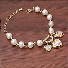 baratos Pulseira de Charme-Mulheres Pulseiras com Pendentes Imitação de Pérola Pulseira de jóias Dourado Para Casamento Festa Diário Casual
