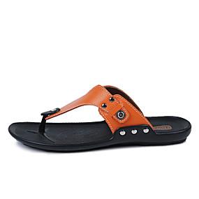 voordelige Wijdere maten schoenen-Heren Comfort schoenen Leer Lente / Zomer Slippers & Flip-Flops Zwart / Wit / Oranje / Siernagel